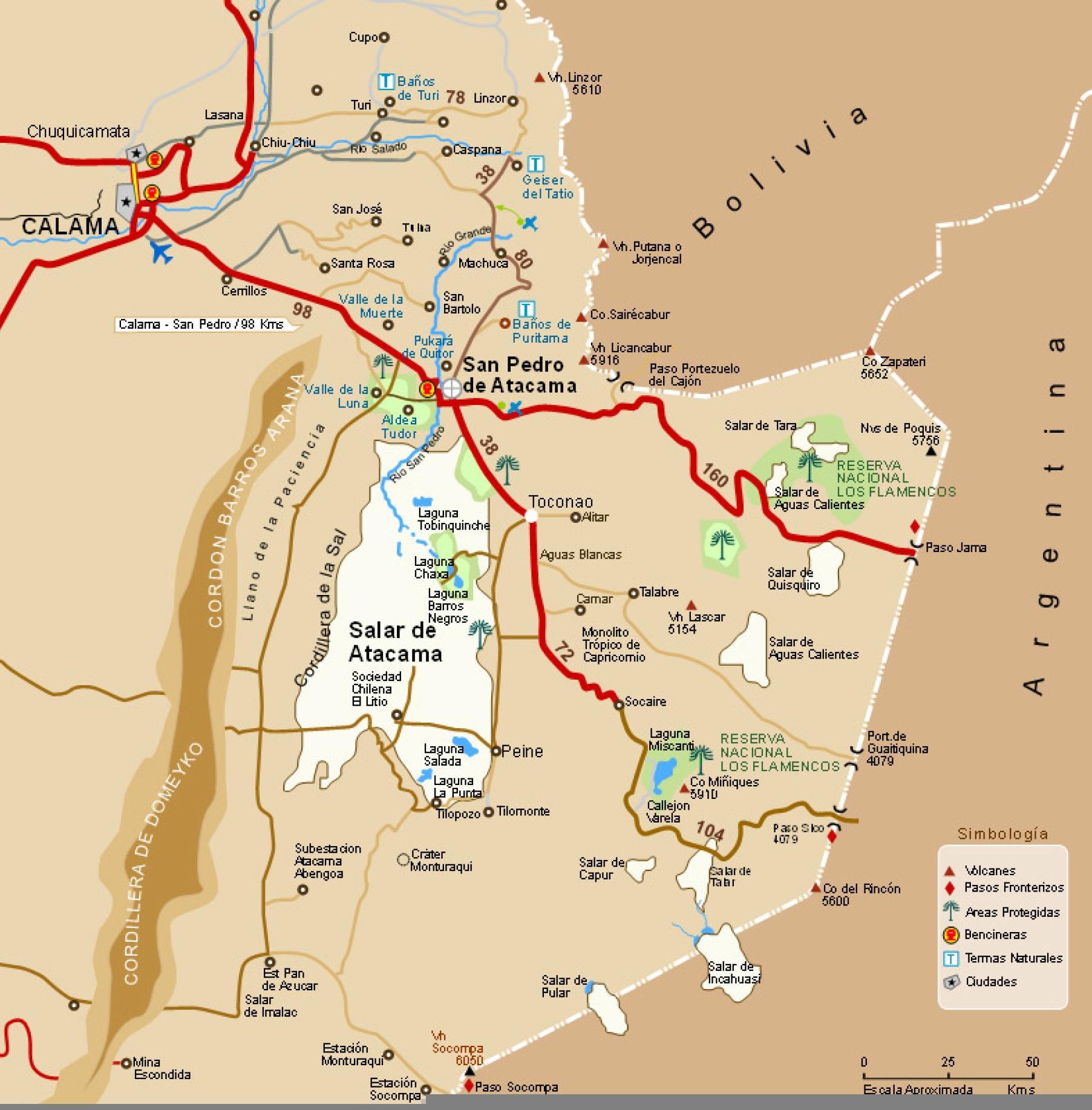 Chiles Orken Kort Atacama Orkenen I Chile Kort Syd Amerika