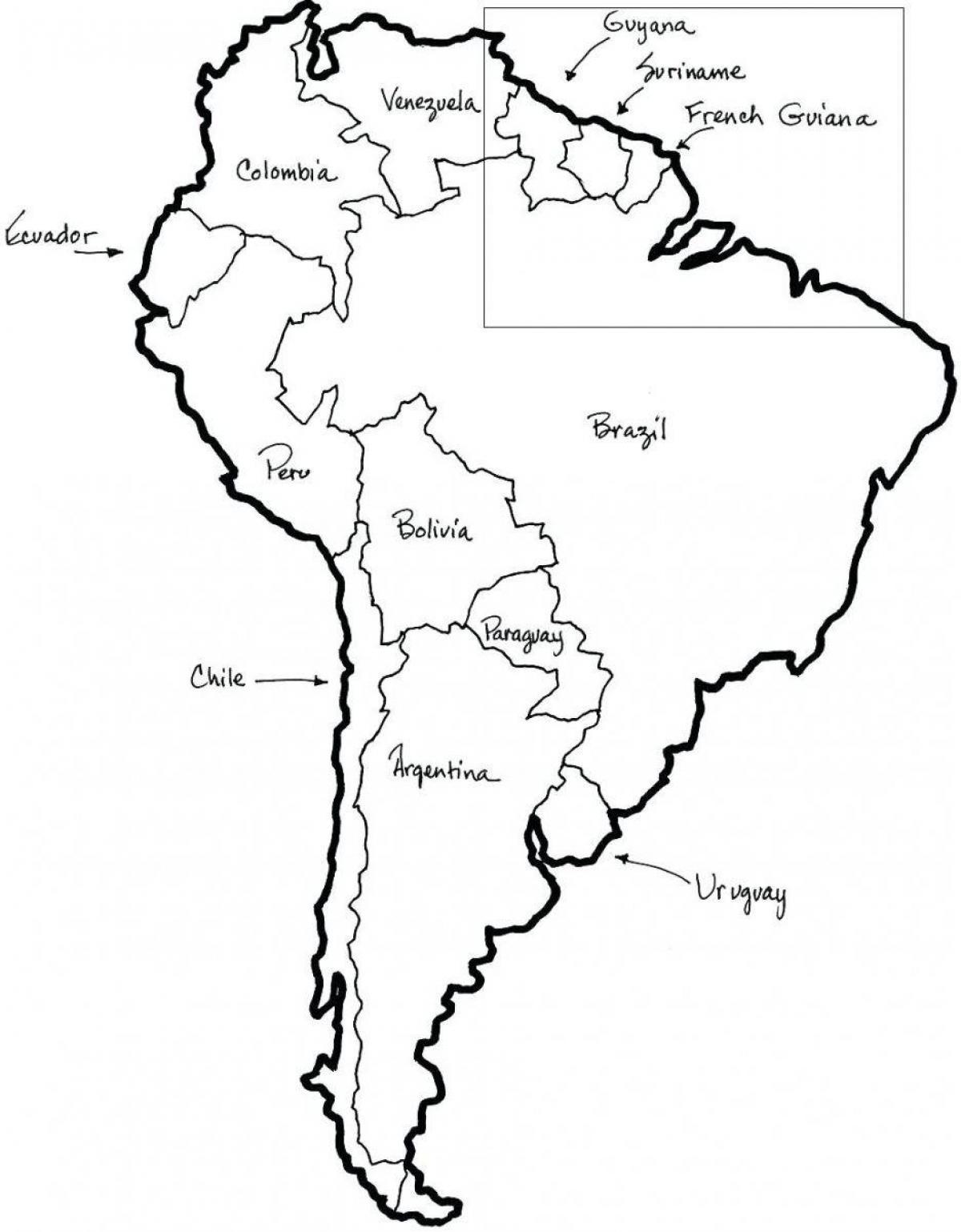 Chile Kort Skitse Kort Chile Outlin Syd Amerika Amerika